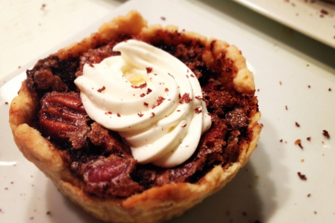 Dark Chocolate Pecan Pie & Bourbon Sauce